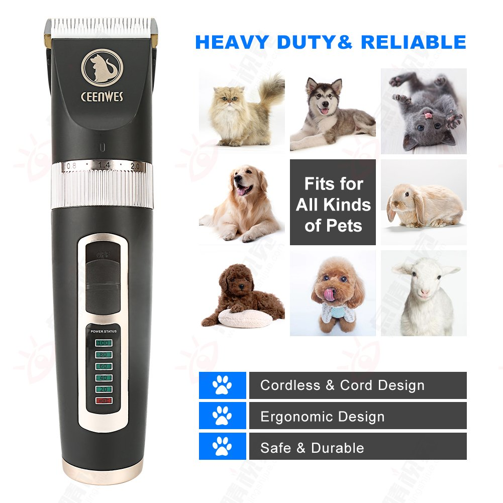 Ceenwes Dog Clippers Heavy Duty Low Noise Rechargeable Cordless Pet Clippers Professional Dog Grooming Clippers with Power Status Dog Grooming Kit with 11 Tools for Dogs Cats Other Animals by Ceenwes (Image #3)