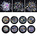 NICOLE DIARY Mixed Nail Art Rhinestones Deep Color Diamonds Resin Crystals Mini Round Beads Gems for DIY Decor Phone & Nail Art Decoration (109225)