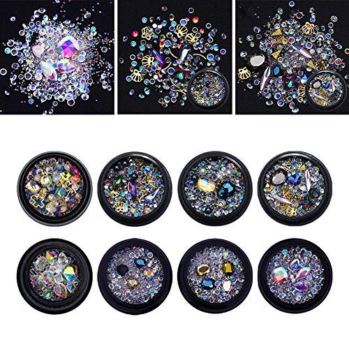 NICOLE DIARY Mixed Nail Art Rhinestones Deep Color Diamonds Resin Crystals Mini Round Beads Gems for DIY Decor Phone & Nail Art Decoration (109225) by NICOLE DIARY