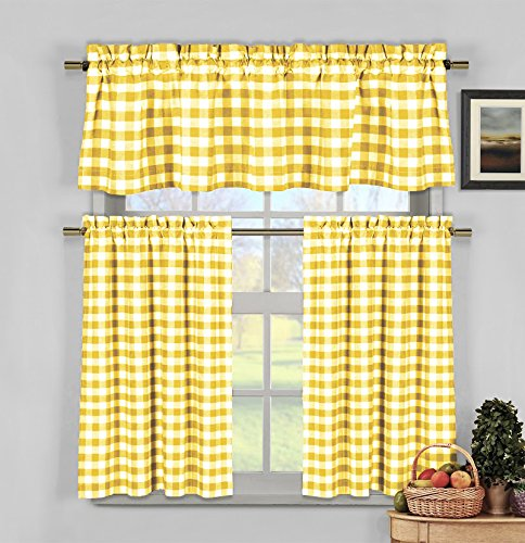 3 Piece Plaid, Checkered, Gingham Kitchen Curtain Set: 35% Cotton, 1 Valance, 2 Tier Panels, Rod Pocket (Yellow)