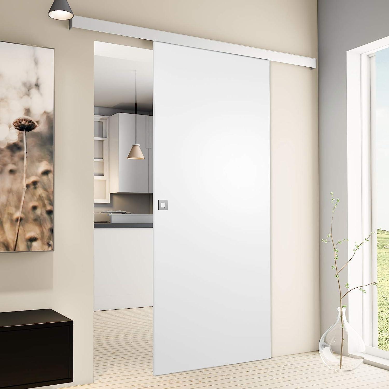 Puerta corredera de madera de Inova Star, para habitaciones, de 880 x 2035 mm, color blanco, juego completo con rieles de aluminio y madera de núcleo sólido, incluyejuego de anclajes, Quadratgriff: Amazon.es: