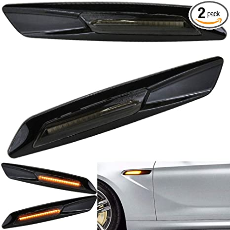 Jinfili Black Smoke Amber Side Marker Turn Signal Light for BMW 3 Series  E90 E91 E92 E93 (Black)