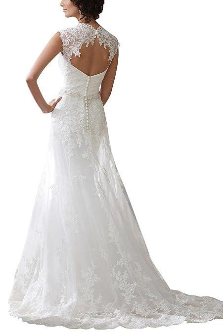 Albizia Women S Removable Lace Straps Chapel Train Wedding Dress
