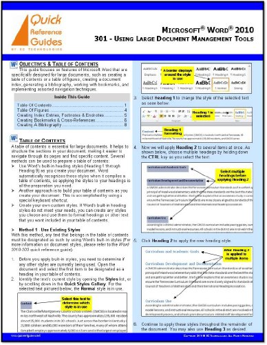 Index Out Guide - Microsoft Word 2010 Quick Reference Guide: Using Large Document Management Tools (301)