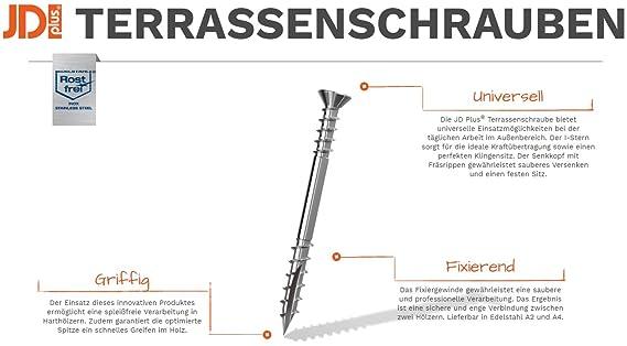 //ø x L/änge 5 x 70 mm, 100 St/ück, volle VE Terrassenschrauben JD-Plus Senkkopf mit I-Stern und optimierter Spitze Edlestahl A2 T25 mm