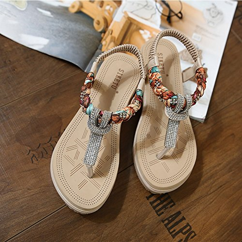 b657d0c0edba Meeshine Womens Wedge Sandals Thong Platform Beaded Slingback Bohemia  Summer Sandal Apricot 6 US