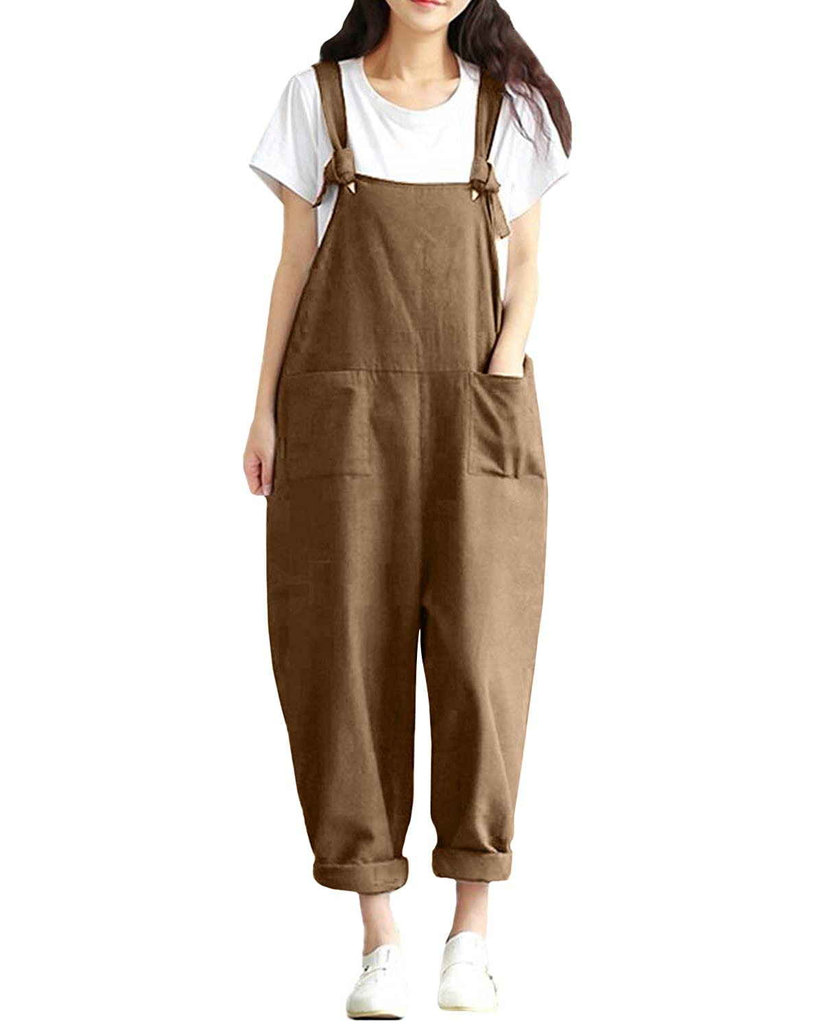 Vintage Overalls 1910s -1950s Pictures and History ZANZEA StyleDome Womens Retro Loose Casual Baggy Sleeveless Overall Long Jumpsuit Playsuit Trousers Pants Dungarees £20.99 AT vintagedancer.com