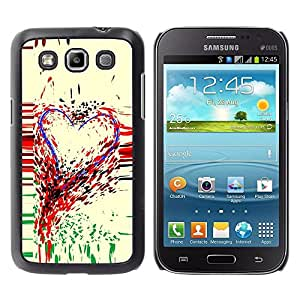 Caucho caso de Shell duro de la cubierta de accesorios de protección BY RAYDREAMMM - Samsung Galaxy Win I8550 I8552 Grand Quattro - Heart Art Colorful Painting Paint Drops Love