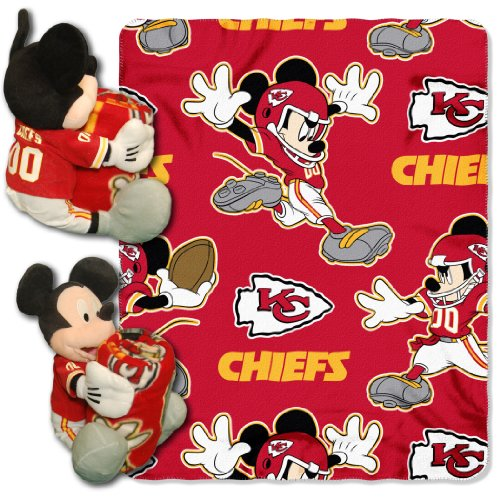 The Northwest Company Officially Licensed NFL Kansas City Chiefs Co Disney's Mickey Hugger and Fleece Throw Blanket Set