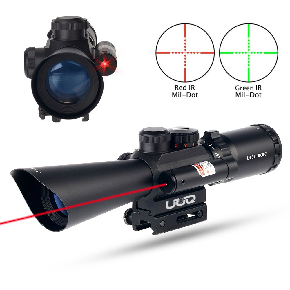 UUQ Tactical 3.5-10X40 Illuminated Red/Green Mil Dot Rifle Scope W/Red Laser Sight Fit 11/20mm Picatinny Rail (Life Time Warranty)