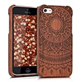 kwmobile Natural wood case with Design Indian sun for the Apple iPhone 5C in rosewood dark brown