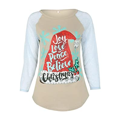 Baby Shoes, Efaster Round Neck Lace Alphabet Long Sleeved Christmas Family Shirt