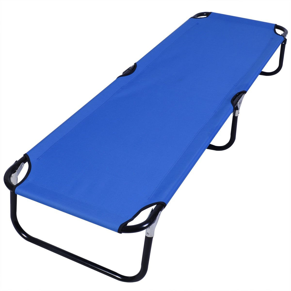 Generic Blue Folding Camping Bed Outdoor Portable Military Cot Sleeping Hiking Travel Easy To Carry And Store Super Sturdy Steel Frame Brand New