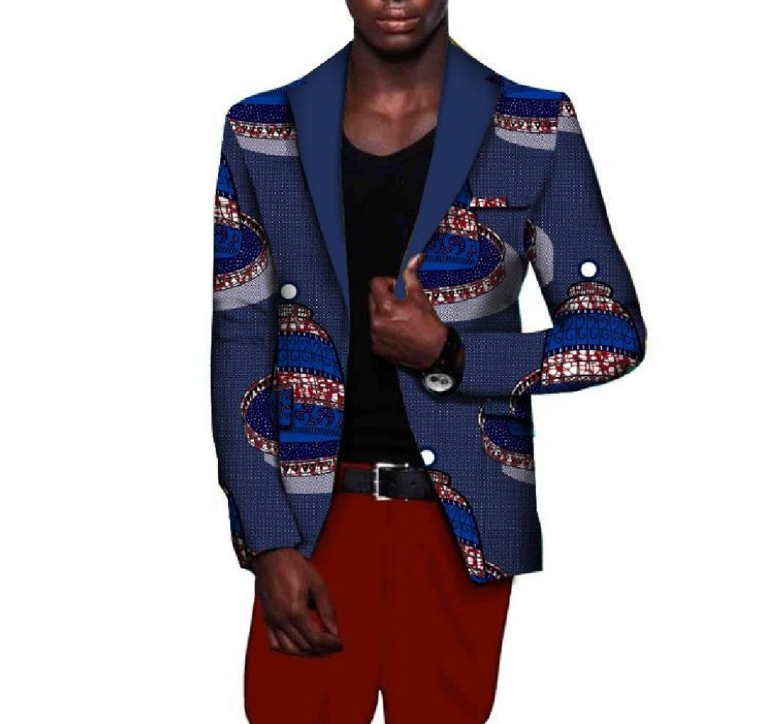Comaba Men Plus Size Dashiki Fashion Coat Africa Lapel Suit Jacket 10 2XL