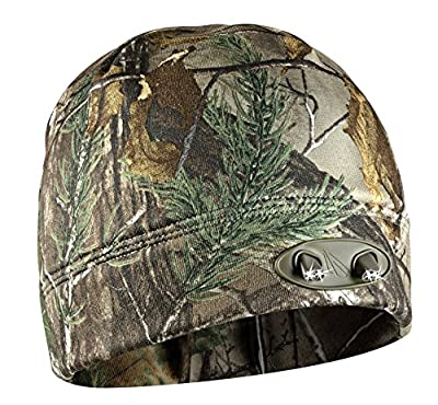 LED Beanie Hat - 4 Ultra Bright Lights - Super Comfortable and Warm - Real Tree Camo - Hands Free - Luxury Compression Fleece - Huggabe Lighted Hat Makes Path Visible up to 42 Feet Away