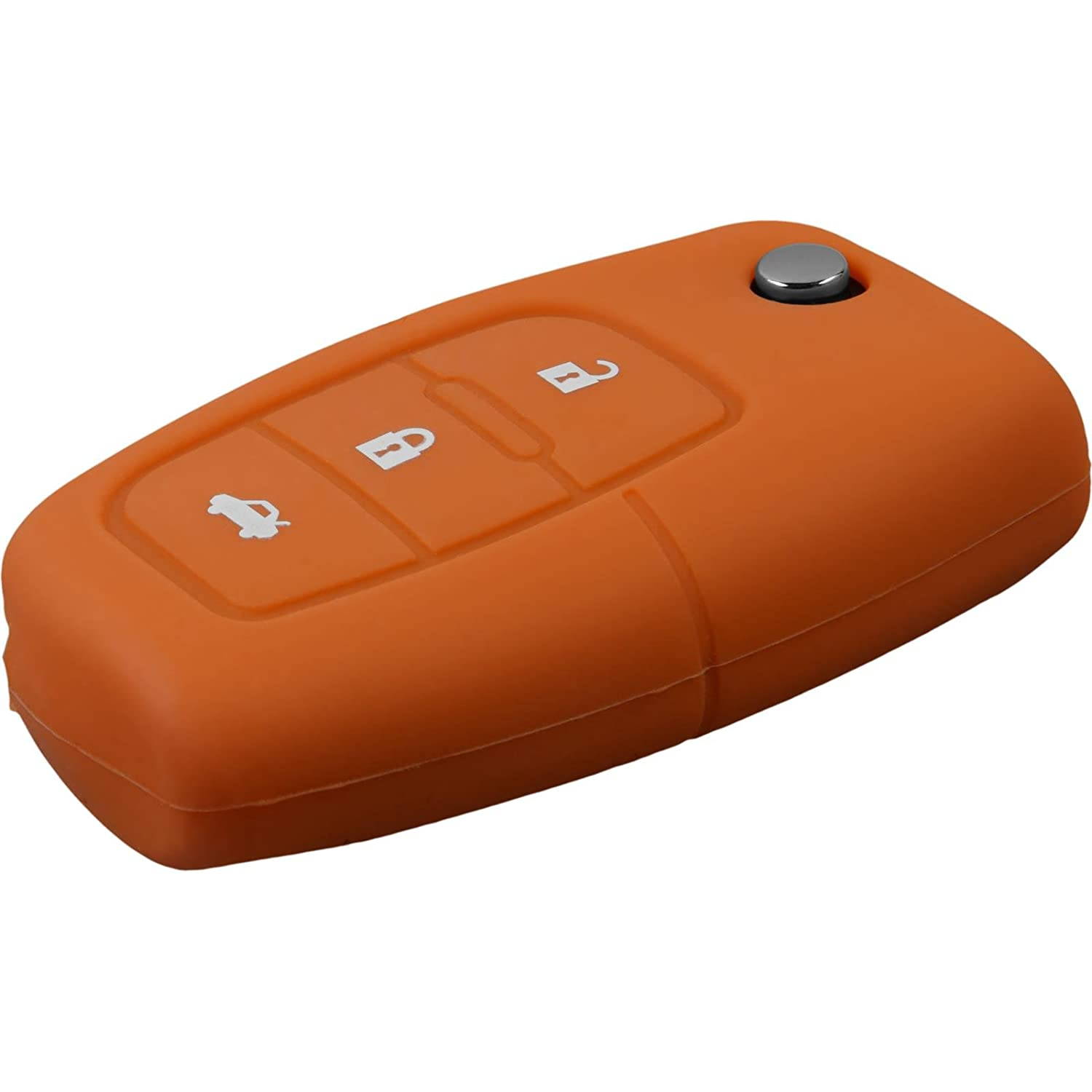 PhoneNatic car key silicone case for 3-button remote for Ford New Fiesta//Mondeo in red flip folding 3-button