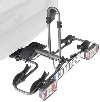 Mottez - Plataforma portabicicletas plegable (2 bicicletas), color gris