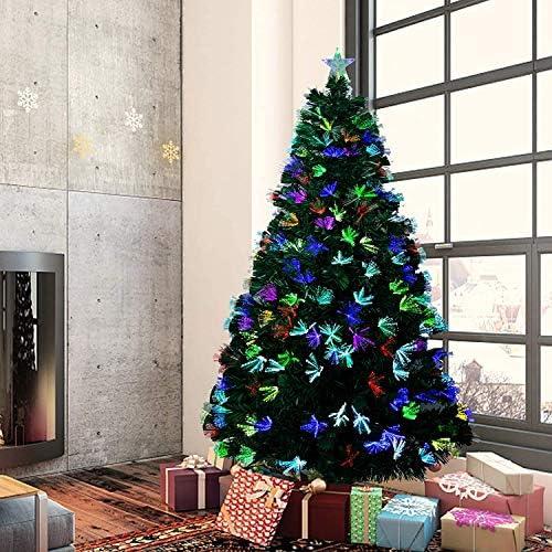 SENZA MARCA Albero di Natale in Fibra Ottica 90 CM con Punta Stella A LED