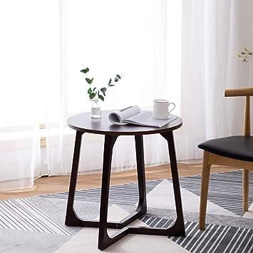ACZZ Mesa auxiliar de sofá, mesa redonda de madera maciza pequeña ...