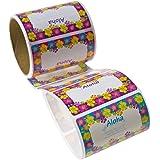 Hibiscus Luau Aloha  Name Tags/Labels (Roll of 100)