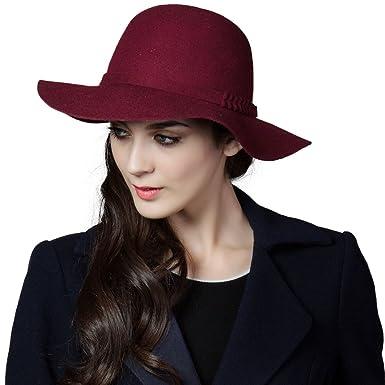 aaaf87178ea Siggi Ladies 100% Wool Felt Hat Wide Brim Vintage Panama Fedora Winter Cap  for Women