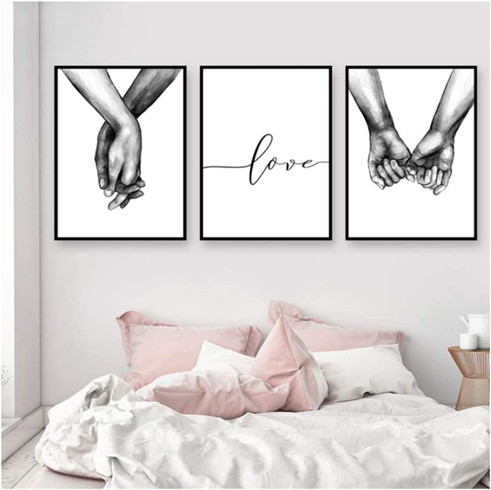 Amazon Com Yiyaofbh Poster Black And White Holding Hands Picture Canvas Prints Lover Quote Painting Wall Art For Living Room Minimalist Decor 60x80cm No Frame Posters Prints