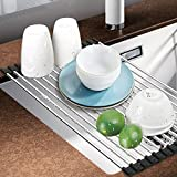 #2: Dish Rack, Aiduy Roll Up Dish Drying Rack Dish Drainer Over the Sink Drying Rack Folding Sink Rack for Kitchen - Premium Stainless Steel