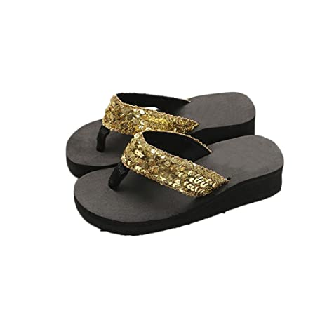 5285a063a Image Unavailable. Image not available for. Color  Pan Hui Clearance Women  Sequins Wedge Flip Flop Anti-Slip ...