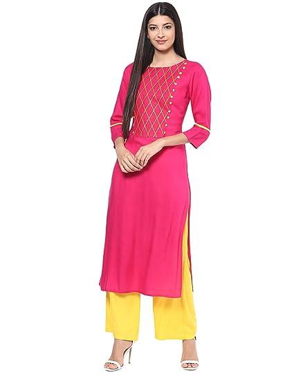 8a4498299 Jaipur Kurti Rayon Rani Pink   Yellow Embroidered Kurta and Palazzo  Set(JKPLZ2780 Rani Small)