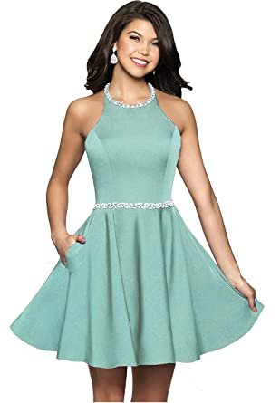 bf02fb06d9 Icy Sun Women s Beaded Halter Short Homecoming Dresses A Line Satin with  Pockets Prom Party Gowns