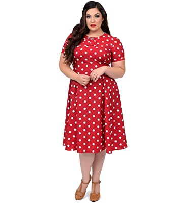 Unique Vintage Plus Size Red & White Polka Dot Madden Swing Dress at ...