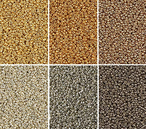 Duracoat Galvanized Metallic Miyuki Seed Beads Mix, 6 Colors, Size 15/0, (8.2 Gram Tubes X 6)