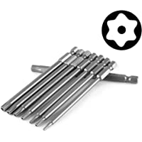 Yakamoz 8pcs 100mm Length 1/4 Inch Hex Shank Magnetic Torx Security Electric Screwdriver Bits Set