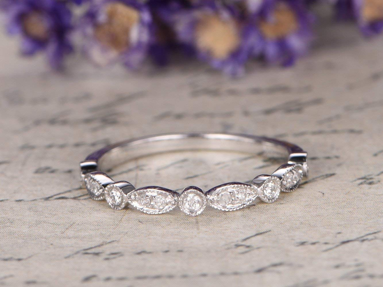 Amethyst Emerald Silver 14k White gold Wedding Band Half Eternity Marquise Women Stackable Matching Ring Birthstone Anniversary Gift