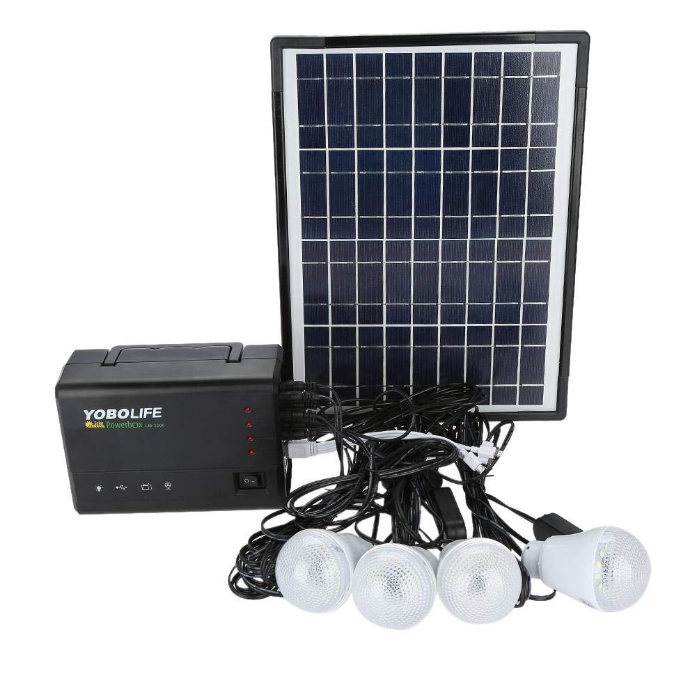 lyrlody Kit per Pannelli Solari,Kit di Illuminazione,Kit Pannello Solare Completo,12V 24V,Controllo di Carica,4 lampadine LED 3W,Tensione di Uscita USB 5 V 1,8 A