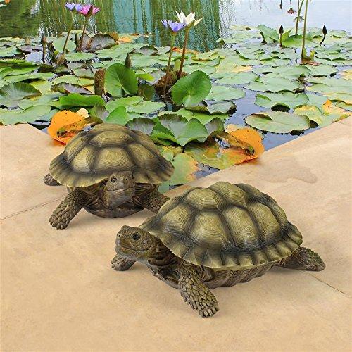 Statue Garden Art (Design Toscano Gilbert the Box Turtle Garden Decor Animal Statue, 9 Inch, Set of Two, Polyresin, Full Color)