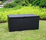 "40"" Black Resin Wicker Outdoor Patio Garden Hinged Lidded Storage Deck Box"