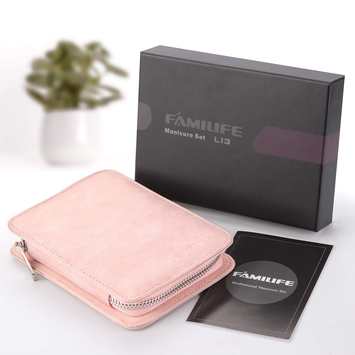 FAMILIFE Manicure Set, 8 in 1 Professional L13 Manicure Kit Nail Clipper Set Stainless Steel Pedicure Tools Kit Portable Grooming Kit with Pink Leather Travel Case for Women Girl : Beauty