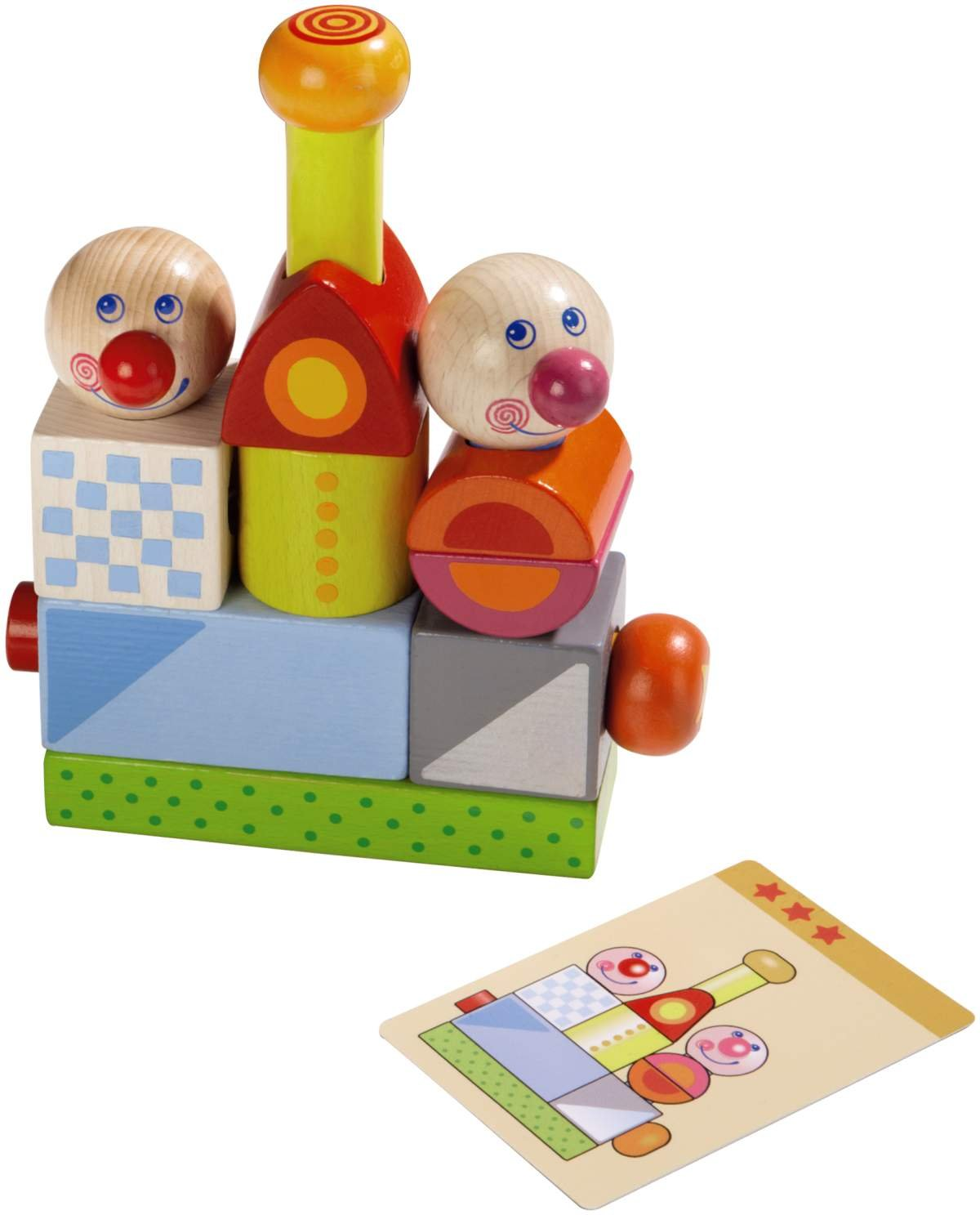 5675 Made in Germany HABA Smart Fellow Wooden Pegging Game with 20 Template Cards for Ages 2 and Up