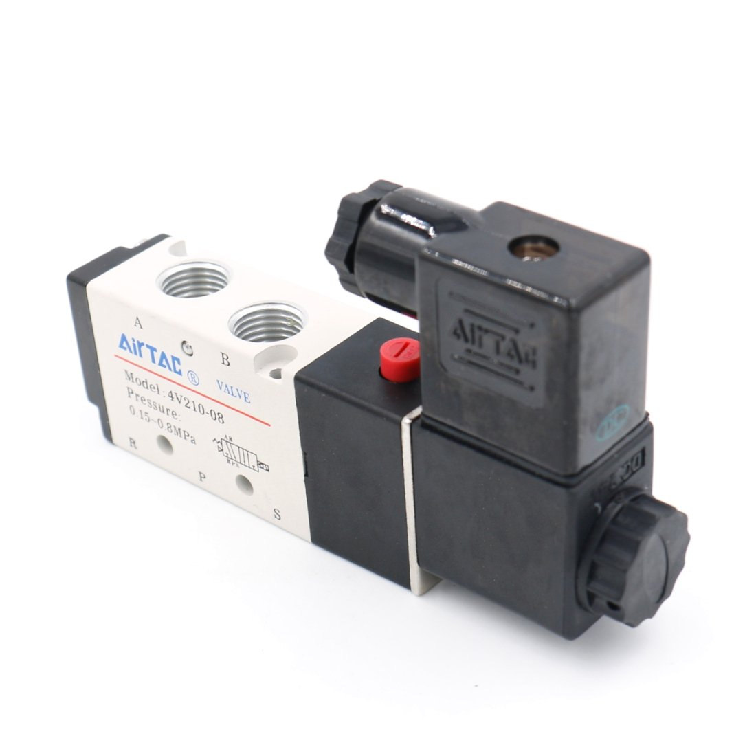 Baomain Pneumatic Air Control Solenoid Valve 4V210-08 DC24V 5 Way 2 Position PT1/4'' Internally Piloted Acting Type Single Electrical Control