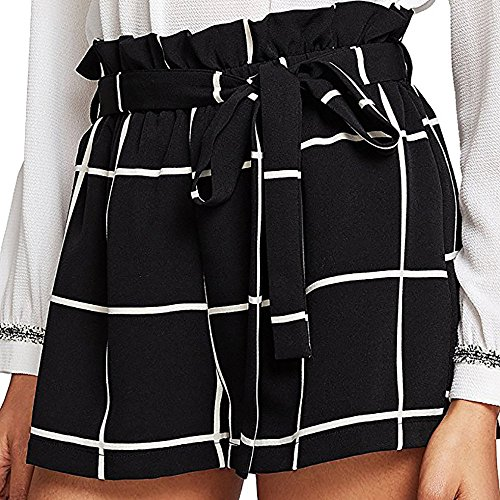 Nevera Women's Tie Bow Plaid Summer Loose Beach Shorts Teen Girls Elastic High Waist Pants Black (Bermuda Girls Plaid Shorts)
