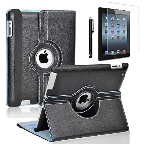 Zeox Apple iPad 2/3/4 Case - 360 Degree Rotating Stand Smart Case Cover for iPad with Retina Display (iPad 4th Generation), the new iPad 3 & iPad 2 (Automatic Wake/Sleep Feature) - Black
