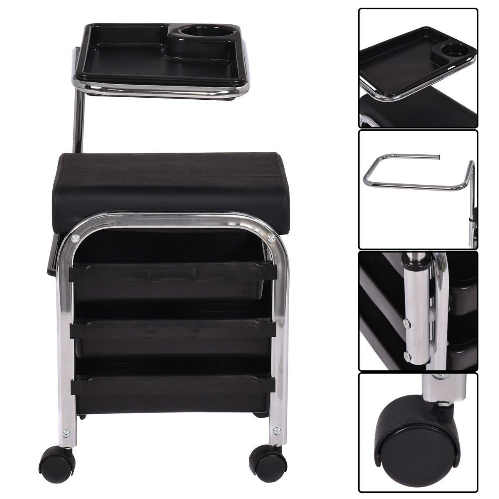Black Pedicure Manicure Nail Cart Trolley Stool Chair Salon SPA With Shelves New