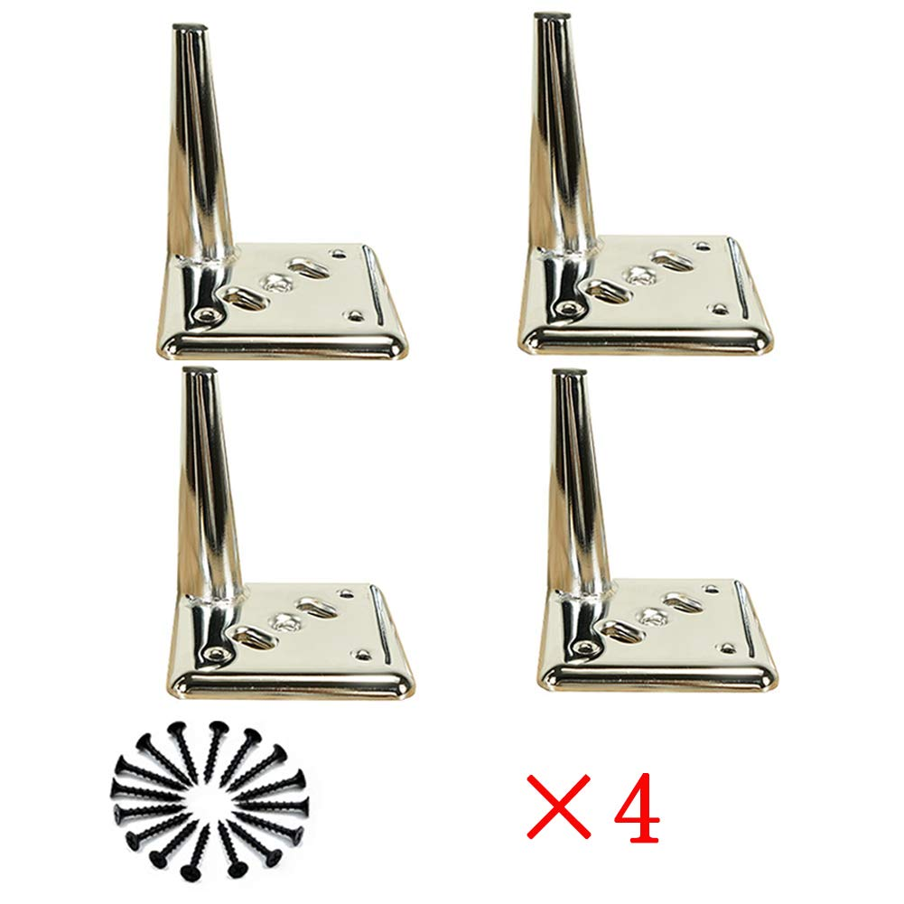 LLPEIJIE026 Legs DIY Furniture Metal Table Legs Perfect for Cabinet, Wardrobe, TV Cabinets, Drawers, Nightstand Silver Color (13cm/5in; 15cm/6in; 17cm/6.7in;) by LLPEIJIE026