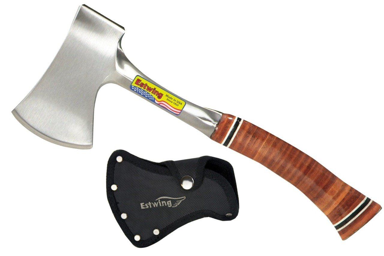 Estwing Sportsman's Axe - 12'' Camping Hatchet with Forged Steel Construction & Genuine Leather Grip - E14A by Estwing