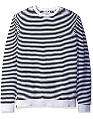 Men's Made in France Stripe Crew with Side Zipper Sweater