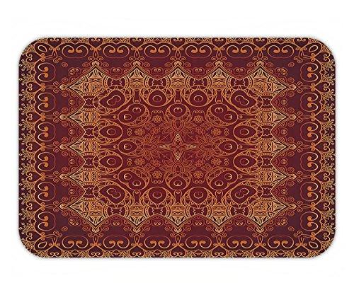 Beshowere Doormat Antique Decor Vintage Lacy Persian Arabic Pattern from Ottoman Empire Palace Carpet Style Artprint Fabric Bathroom Extra Long Orange (Bigfoot Ottoman)