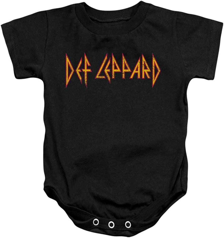 Def Leppard 80s Heavy Metal Band Horizontal Logo Baby Infant Romper Snapsuit