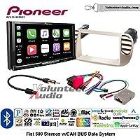 Volunteer Audio Pioneer AVH-W4400NEX Double Din Radio Install Kit with Wireless Apple CarPlay, Android Auto, Bluetooth Fits 2012-2015 Fiat 500 (White)