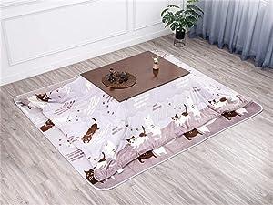 CharmingNight 2020 New Kotatsu Table Nordic Design Solid Oak Wood Japanese Furniture for Living Room Casual Heated Center Tea Tatami Table Creativity (Color : Brown Set)